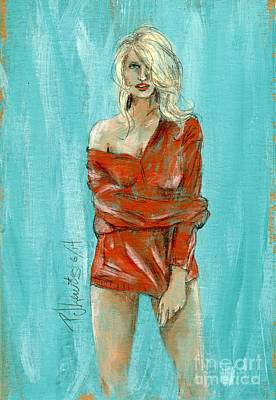Sexy Women Drawing - Her Man's Sweater by P J Lewis