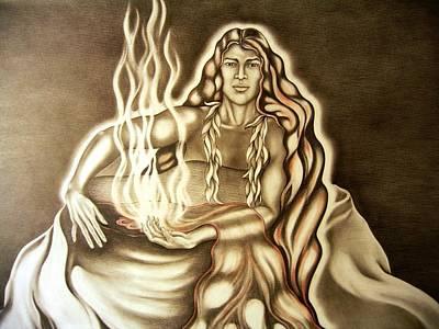 Pele Drawing - Her Warmth by Jaya C Dupuis