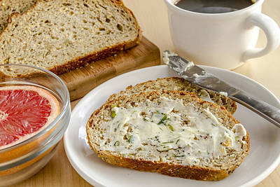 Herb Butter And Whole Grain Bread Print by Teri Virbickis