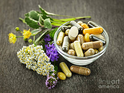 Pill Photograph - Herbal Medicine And Herbs by Elena Elisseeva