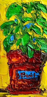 Interior Still Life Painting - Herbal Plant Basil by Patricia Awapara