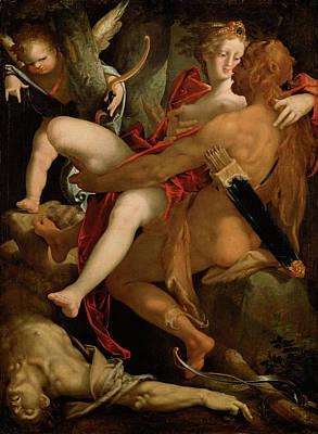 Centaur Painting - Hercules Deianira And The Centaur Nessus by Bartholomeus Spranger