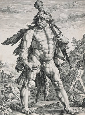 Character Portraits Drawing - Hercules by Hendrik Goltzius