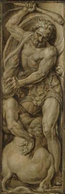 Centaur Drawing - Hercules Slays The Centaur Nessus, Maarten Van Heemskerck by Litz Collection