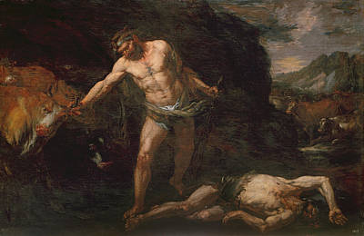 Strength Painting - Hercules Slays The Giant Cacus And Steals Back The Cattle Of Geryon by Giambattista Langetti