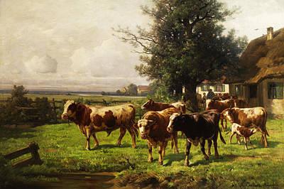 Adolf Digital Art - Herd Of Cows by Adolf bei Dachau