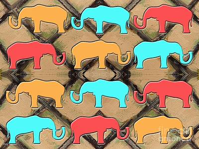 Nature Abstract Mixed Media - Herd Of Elephants by Patrick J Murphy