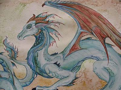 Here Be A Dragon Print by Nicole Caldwell