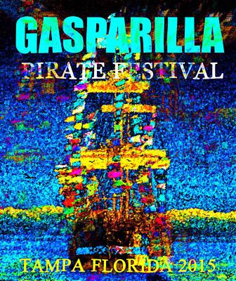 Pirate Ship Digital Art - Here Comes Gasparilla by David Lee Thompson