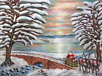 Bridge Painting - Here Comes Santa by Ronald Haber