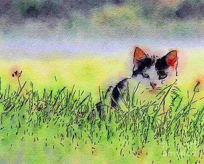 Digital Watercolor Photograph - Here Kitty Kitty Kitty by Kerri Farley