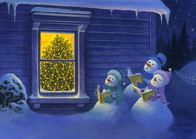 Here We Come A Caroling Print by Michael Humphries