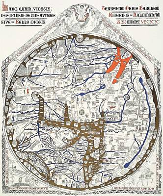 Hereford Mappa Mundi With Detail Upszed  Print by L Brown