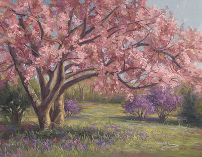 In Bloom Painting - Here's The Spring by Lucie Bilodeau