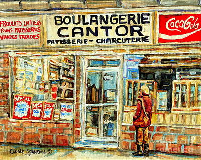 Montreal Storefronts Painting - Heritage Montreal Paintings Cantors Bakery Coffee Shop And Deli Coca Cola Signs Winter City Scene Ca by Carole Spandau