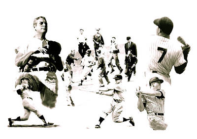 Mickey Mantle Drawing - Hero For The Ages Mickey Mantle by Iconic Images Art Gallery David Pucciarelli