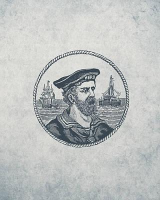 Hero Sea Captain - Nautical Design Print by World Art Prints And Designs