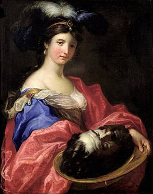 Herodias Oil On Canvas Print by Domenico the Elder Piola