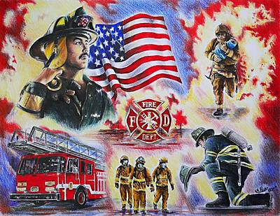 All American Drawing - Heroes Collection American Firefighter by Andrew Read