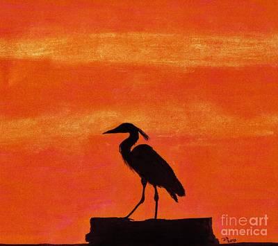 Heron - At - Sunset Original by D Hackett