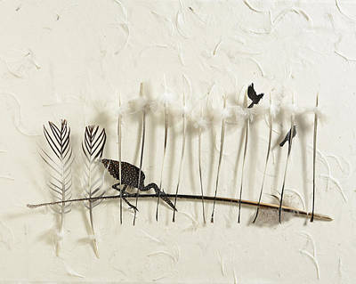 Shadowbox Mixed Media - Heron Land by Chris Maynard