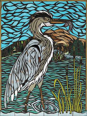 Heron On Connor Creek Original by Mary Ellen Bowers
