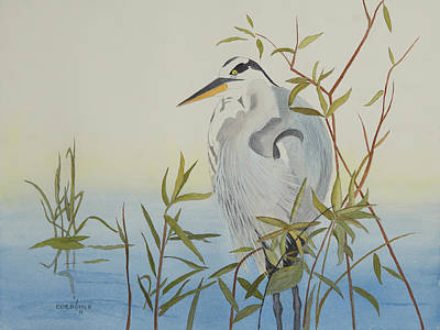 Heron Waiting For Dinner Original by John Edebohls