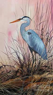 Artist James Williamson Great Blue Heron Painting - Herons Evening Shore by James Williamson