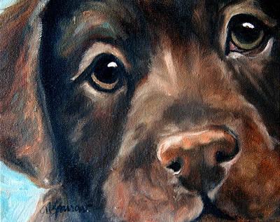 Chocolate Labrador Retriever Painting - Hershey by Mary Sparrow