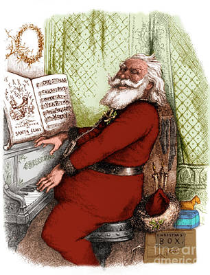 Hes A Jolly Good Fellow Santa Claus Print by Photo Researchers