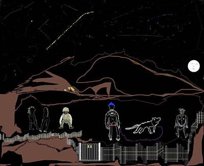 Moon Digital Art - Heterogeneous Crew Under Stars by SC Heffner