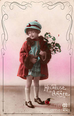 Heureuse Annee Vintage Girl Print by Delphimages Photo Creations