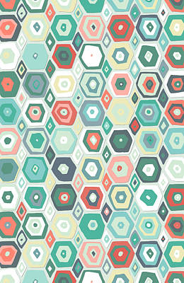 Hex Drawing - Hex Diamond Coral Mint by Sharon Turner