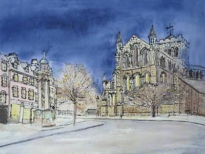 Abbey Road Painting - Hexham Abbey England by Hazel Millington
