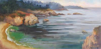 Iconic Painting - Hidden Beach Point Lobos by Karin  Leonard