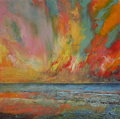 Abstract Seascape Painting - Hidden Heart Lava Sky by Michael Creese