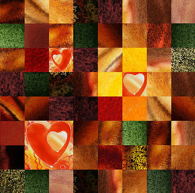 Wall Quilts Painting - Hidden Hearts Squared Abstract Design by Irina Sztukowski