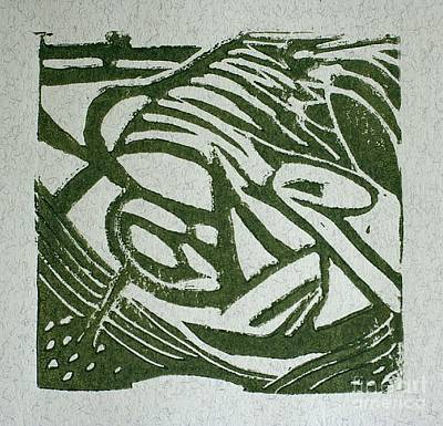 Lino-cut Mixed Media - Hidden Horse by Christiane Schulze Art And Photography