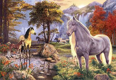 Hidden Images - Horses Print by Steve Read