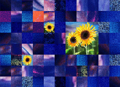 Digital Sunflower Painting - Hidden Sunflowers Squared Abstract Design by Irina Sztukowski