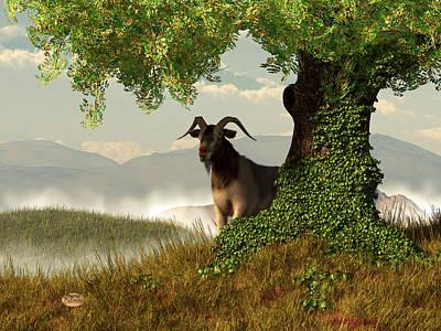 Goat Digital Art - Hide And Goat Seek by Daniel Eskridge
