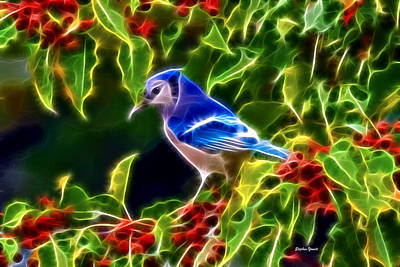 Bluejay Digital Art - Hiding In The Berries by Stephen Younts