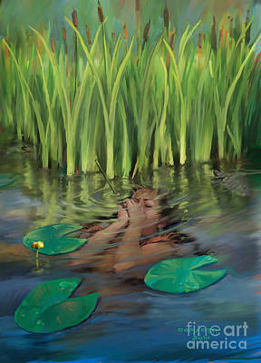 Fish Painting - Hiding In The Lake by Rob Corsetti