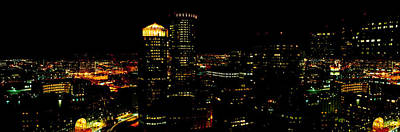 Built Structure Photograph - High Angle View Of A City At Night by Panoramic Images