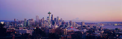 Seattle Skyline Photograph - High Angle View Of A City At Sunrise by Panoramic Images