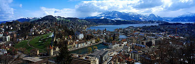 Lucerne Photograph - High Angle View Of A City, Chateau by Panoramic Images