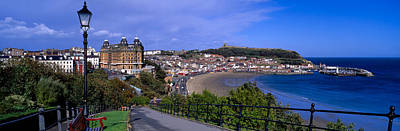 Benches Photograph - High Angle View Of A City, Scarborough by Panoramic Images