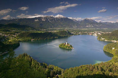 High Angle View Of A Lake, Lake Bled Print by Panoramic Images