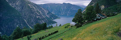 Landscape In Norway Photograph - High Angle View Of A River Surrounded by Panoramic Images