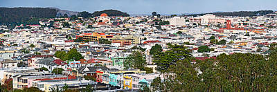 Golden Gate Park Photograph - High Angle View Of Colorful Houses by Panoramic Images